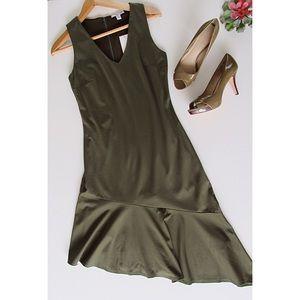 Olive Green Asymmetrical Bar III Dress